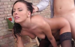 Depraved man deeply drilling slit of hot Lexi Layo